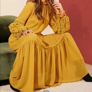 Lace lantern sleeve Swiss dot flounce dress